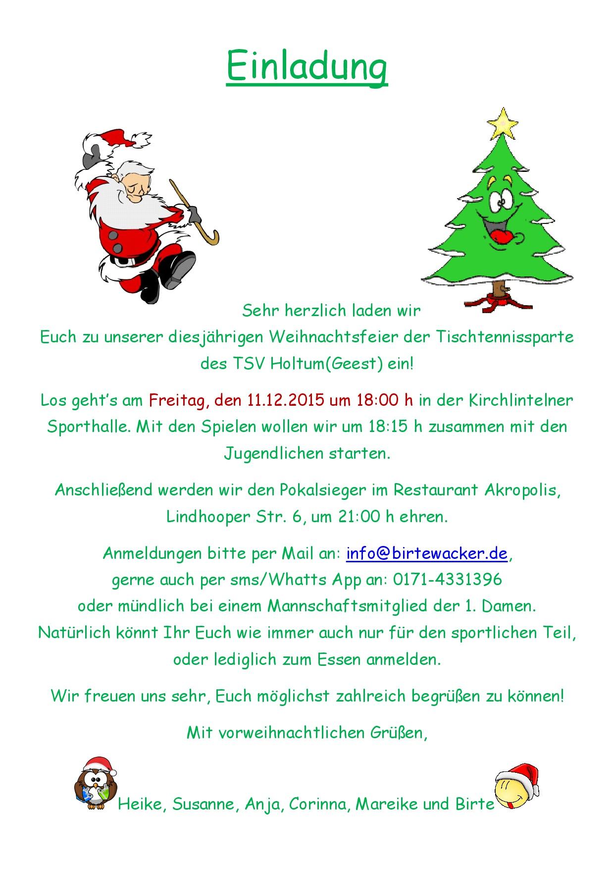 Einladung Zur Weihnachtsfeier.Einladung Weihnachtsfeier Tsv Holtum Geest Tischtennis